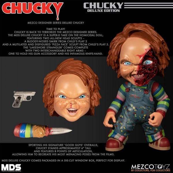 Aus Mezcos ´Chucky Die Mörderpuppe´ Horrorfilm-Reihe kommt diese großartige Puppe von Chucky. Sie ist ca. 15 cm groß, trägt echte Stoffkleidung und kommt mit einem austauschbaren Kopf und einem Austauschbaren Arm.