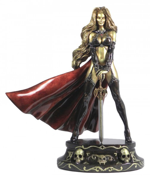 Lady Death Faux Bronze Statue Traditional Brown Gold 34 cm