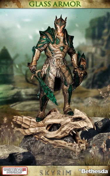 Zum Videospiel ´The Elder Scrolls V: Skyrim´ kommt diese beeindruckende Statue der Vulkanglasrüstung! Die detailreiche Statue aus schwerem Resin ist ca. 40 cm groß und auf nur 1000 Stück limitiert.